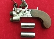 A scarce double Barrelled Tap Action Flintlock Pistol, by Spencer of London, C.1790-1800. Ref 1606   Muzzleloader