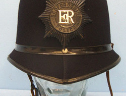 Bedfordshire Police Male Constable\'s/ Sergeant\'s Blue Serge Police Helmet With Bedfordshire Police Male Constable's/ Sergeant's Blue Serge Police Helmet With B