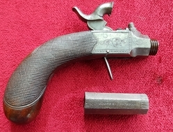 A scarce single barrel unusually small percussion pocket pistol by COOPER of Stockton-on-Tees. Ref 9547.   Muzzleloader