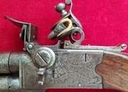 Ref 2921. A very high quality Napoleonic period double barrel Flintlock Pistol made by H.W. MORTIMER.   Muzzleloader