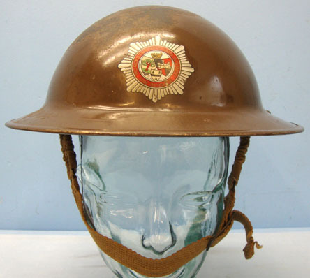 Tommy Helmet By FAI With Liner and Chinstrap. British Home Front, Worcester City and County Fire Brigade Tommy Helmet By FAI W Accessories