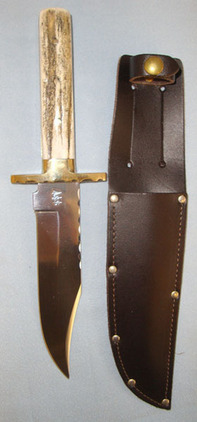 Arthur Wright & Son Bowie Knife With Stag Horn Grips & Sheath.  Blades