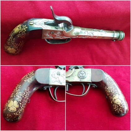 A very fine and rare Japanese brass percussion pistol. Good condition. Ref 9981. Pistol / Hand Guns