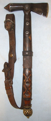 Original Medieval Form Georgian Or Victorian Era Fighting Axe / War Hammer With  Fighting Axe / War Hammer With Original Long Leather Saddle Hanger / Wrist Strap Blades