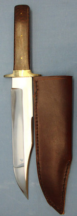 J.E. Middleton & Sons Large Hand Made Bowie Knife With Polished Wood Grips and Sheath.  Blades