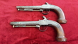 A very unusual pair of French percussion officers pistols engraved D ALBIEZ Lt COLONEL. Circa 1840. Good condition. Ref 9205.   Muzzleloader for sale in United Kingdom