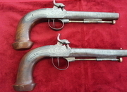 Ref 9205. A very unusual pair of French percussion officers pistols engraved D ALBIEZ Lt COLONEL. Circa 1840. Good condition.   Muzzleloader