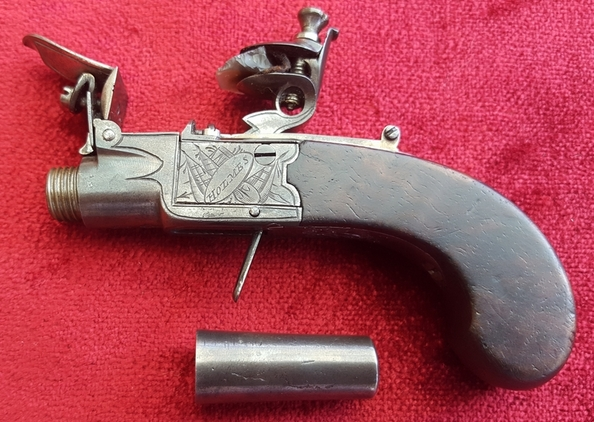English Flintlock boxlock miniature muff  pistol by Holmes. Ref 9531 Pistol / Hand Guns