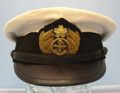 Japanese Naval Officer's White Cover Summer Uniform Visor Cap with Bullion Badge Japanese Naval Officer's White Cover Summer Uniform Visor Cap with Bullion Badge Accessories
