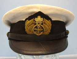 Japanese Naval Officer's White Cover Summer Uniform Visor Cap with Bullion Badge Japanese Naval Officer's White Cover Summer Uniform Visor Cap with Bullion Badge