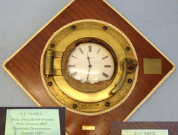Recovered WW1 Royal Naval Block Ship at Scapa Flow, SS Thames Brass Porthole Mou SS Thames Brass Porthole Mounted With Clock
