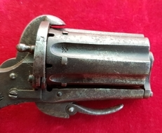 A scarce English 6 shot Pepper-box 5mm Pin-fire Revolver. Circa 1865. Ref 1811.   Muzzleloader