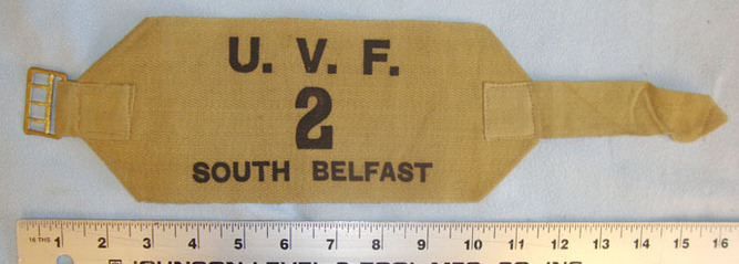 Ulster Volunteer Force (UVF) 2nd Battalion South Belfast Arm Band (2 available). Original, 1970's Ulster Volunteer Force (UVF) 2nd Battalion South Belfast Arm Ba Accessories