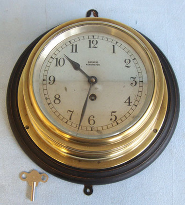 Barkers of Kensington, London Brass Cased Eight Day Naval Bulkhead Clock By Barkers of Kensington, London, Mou Accessories