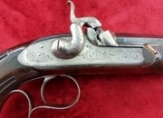 A superb Lefaucheux percussion single barrel target pistol. The barrel retaining most of it's original blue. Circa 1840. Ref 9905.   Muzzleloader