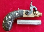 An octagonal barrel side-hammer percussion pistol by W. Hole Bristol. Circa 1840. Ref 1914   Muzzleloader