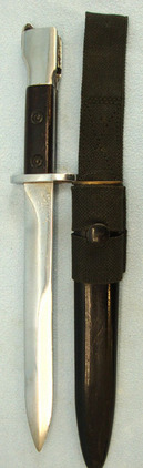 British X2 E1 Trials Bayonet, Scabbard and Webbing Frog.  Blades