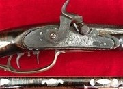 A very rare fully stocked American Plains long rifle inlaid with silver & brass. Ref 2090. Muzzleloader   Rifles