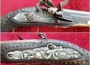 A good silver inlaid Balkan Flintlock pistol Circa 1800. Butt cap, trigger guard and side-plate all with heavy silver decoration. Ref 9853.   Muzzleloader