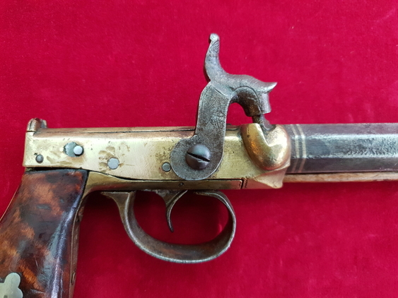 A rare primitive side hammer single shot percussion pistol by B. FOWLER JR of HARTFORD, CONNECTICUT. Ref 1527 Pistol / Hand Guns