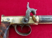 A rare primitive side hammer single shot percussion pistol by B. FOWLER JR of HARTFORD, CONNECTICUT. Ref 1527   Muzzleloader