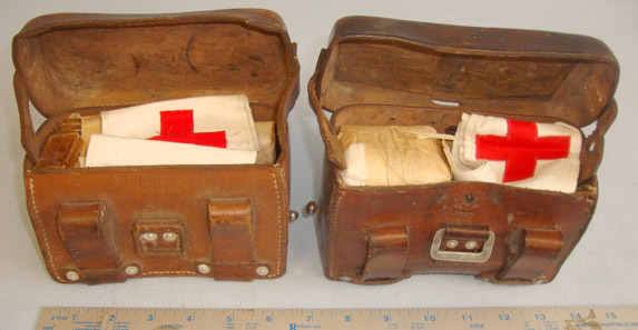 Pair Of WWII 1937 & 1941 Dated German Army Combat Field Medic's (Sanitäter) Hard Combat Field Medic's (Sanitäter) Hard Case Left & Right Leather Belt Pouches By  Accessories