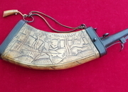 Wheelock period powder horn engraved with a hunting scene of figure and Deer. Ref 8528