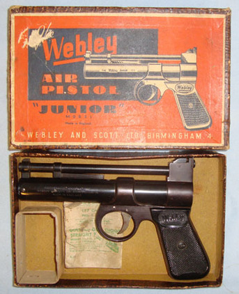 Webley / Webley & Scott Junior Series 2 .177 Calibre Air Pistol With Original Empty Webley Paper Pellet  Air Guns