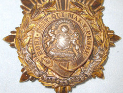 Manchester Regiment Helmet Plate. Pre WW1 C1902- 1914 British Kings Crown Manchester Regiment Helmet Plate.