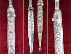 Silver Kindjal the hilt and scabbard covered in nielloed silver. Ref 9411  Swords