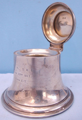 A & J Zimmerman Birmingham. Sterling Silver Bell Shaped British Officer's Presentation Ink Well With Hinged  Accessories