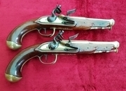 A fine Pair of Napoleonic Brass Mounted French Cannon Barrel Officers Flintlock Pistols. C. 1770-1790. Ref 9843   Muzzleloader