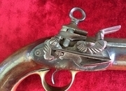 Spanish Miquelet military pistol. Engraved Francesco BORNIO of BARCELONA. Ref 8686   Muzzle loader