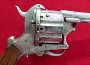A very scarce large calibre ten shot double action pin-fire revolver with folding trigger. Ref 1901.   Muzzleloader