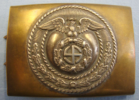 German SA (Sturmabteilungen) Two Piece Belt Buckle In Brass and With Silvered Fa Original WW2 German SA (Sturmabteilungen) Two Piece Belt Buckle In Brass and Wit Accessories