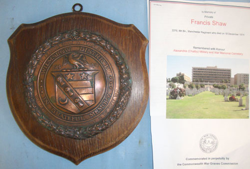 Wilmslow District Memorial Shield With Copper Centre Boss To British Army Privat Wilmslow District Memorial Shield With Copper Centre Boss To British Army Privat Accessories