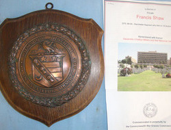Wilmslow District Memorial Shield With Copper Centre Boss To British Army Privat Wilmslow District Memorial Shield With Copper Centre Boss To British Army Privat