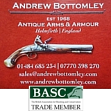 Andrew Bottomley Antique Arms & Armour. Mail Order Only. Established in 1968.